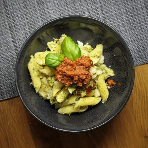 Broccoli and Cauliflower Pesto Pasta